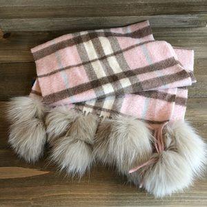 Authentic BURBERRY Cashmere/ Fox Fur Scarf